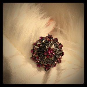 Metal ring size 5 6 7 8 pink Flower 🌺 adjustable